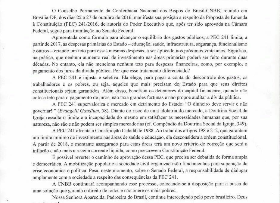 """""""A PEC 241 afronta a Constituição Cidadã de 1988"""", diz CNBB em nota"""